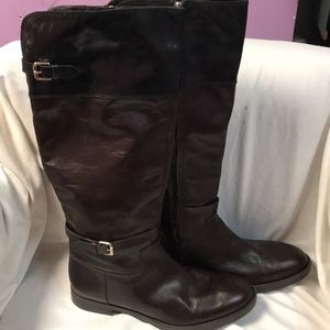 Enzo angiolini black leather riding boots size 9